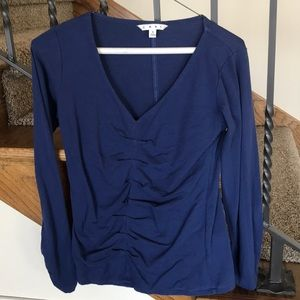 CAbi top, marine blue with front ruching, size S